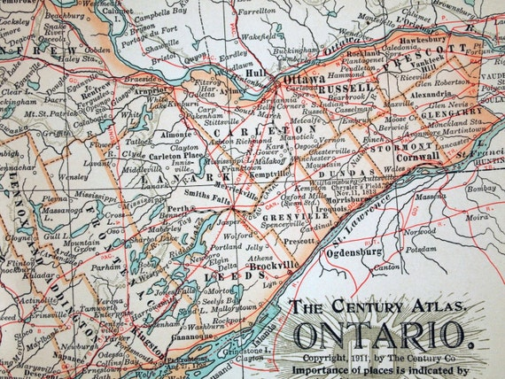1911 Century Atlas Antique Map of Ontario, Canada