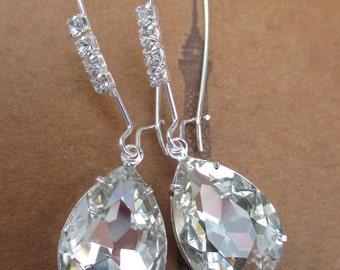 White Diamond Earrings - Crystal Earrings - Bridesmaid Gifts - Prom Earrings - Bridal Earrings - Formal Event Jewelry - CRYSTAL CASCADE