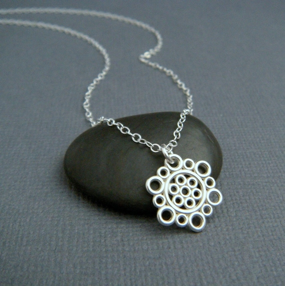 silver circle necklace small sterling silver necklace