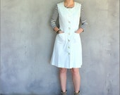 SALE 70's Dress White Button Front Dress with Fitted Waist Small