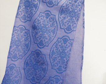Chinoiserie floral linen table runner delft blue hand block printed on hyacinth home decor