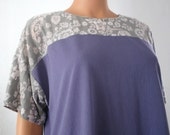 Floral Colorblock Grey / Purple Top Boat Neck Short Sleeve, Free Shipping