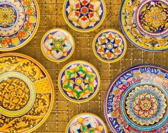 Italy Photograph. Umbrian Plates - Colorful Italian Ceramics 8x12