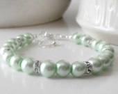 Mint Green Wedding Jewelry Mint Bridesmaid Bracelets Pearl Bracelet Beaded Bridesmaid Sets Pastel Green Handmade Jewelry, Avalon