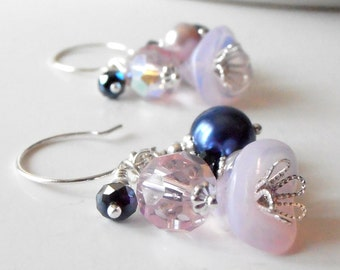 Pink and Navy Bead Cluster Earrings, Flower Jewelry, Cluster Dangles, Beaded Jewelry, Handmade