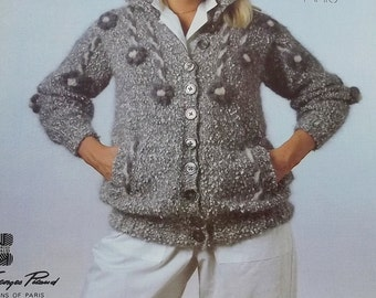 Vintage woman cable flower cardigan knitting pattern size 34-38 by Sandy Black  Original Knits no 1701B