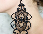 Lace earrings - Looking Glass - Black lace