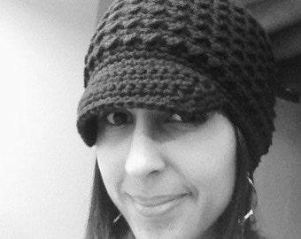 Black Newsboy Hat Adult Beanie Womens Crochet Wide Brimmed Cap Teen Ladies MADE TO ORDER Fashion