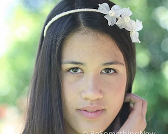 wedding hair accessories, vintage flower headband, wedding headpiece