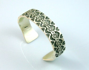 C02 Hand Stamped Forged Thick Flat Wire Sterling Silver Southwestern Style Cuff
