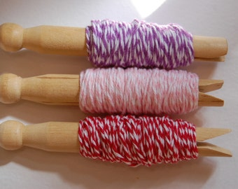 30 Yards Berry Bakers Twine Sampler -- 10 yards of each color -- Lilac, Blossom, Maraschino -- Ready to Ship