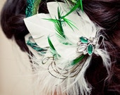 Reserved for Marianne - White and Emerald Green Feather Hair Clip Fascinator