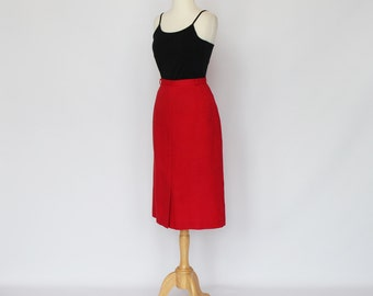 70's Red Linen Skirt / A Line / Front Slit / Small to Medium