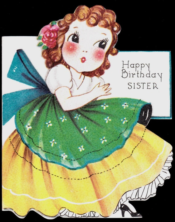 Vintage Birthday Wishes For Sister ~ Vintage sister happy birthday greeting card by vintagerecycling