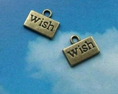 SALE - 10 'wish' charms, bronze tone, 13mm
