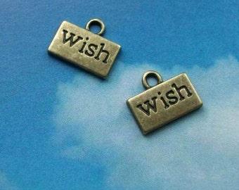 SALE - 10 'wish' charms, bronze tone, 13mm