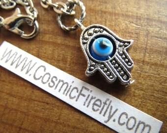 Tiny Hamsa Necklace Evil Eye Charm Necklace Hamsa Hand Necklace Handcrafted Assemblage Jewelry Fashion Jewelry