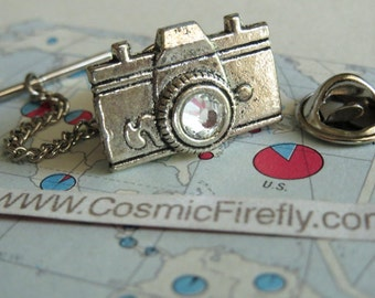 Camera Tie Tack Silver Plated Tie Tack Men's Gifts For Him Real Swarovski Crystal In Lens From Cosmic Firefly