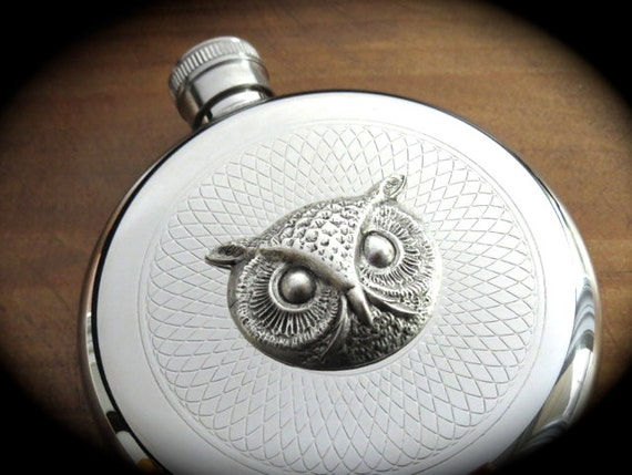 Owl Flask Silver Flask Round Flask Gothic Victorian Flask Steampunk Flask Vintage Inspired Reproduction