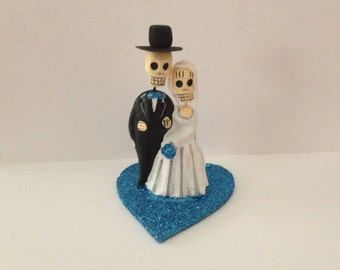 Turquoise Blue Till Death Do Us Part Dia De Los Muertos Cake Topper - Halloween, Wedding, Engagment Party, Day of the Dead