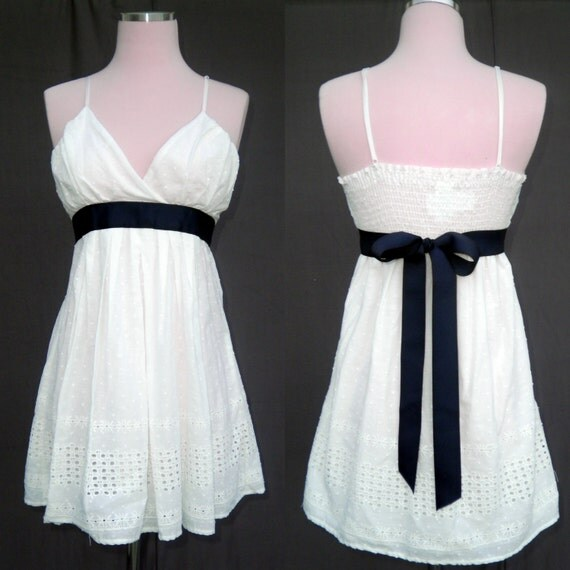 White eyelet with navy blue sash vintage short wedding dress for Blue sash for wedding dress