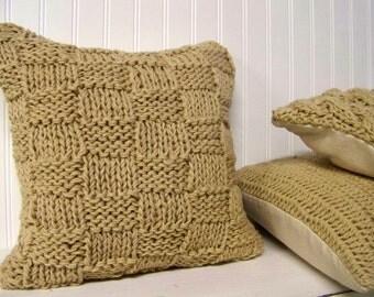 free shipping - basket weave style knit pillow - camel - tan - caramel - warm - cozy - texture