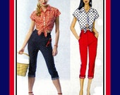 Front Tie Top- Capri  Pants-Designer Sewing Pattern-Sweet- Sassy- Elly Mae Clampett- Rockabilly Style- Uncut -Size 12-20