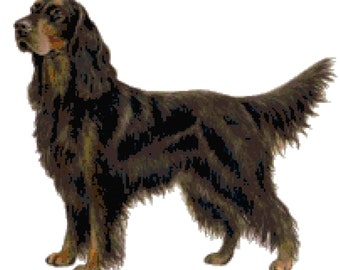 Gordon Setter Dog Counted Cross Stitch Pattern