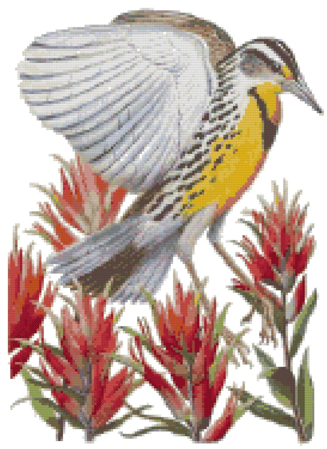 Wyoming State Bird & Flower Counted Cross Stitch Pattern from BostonNeedl