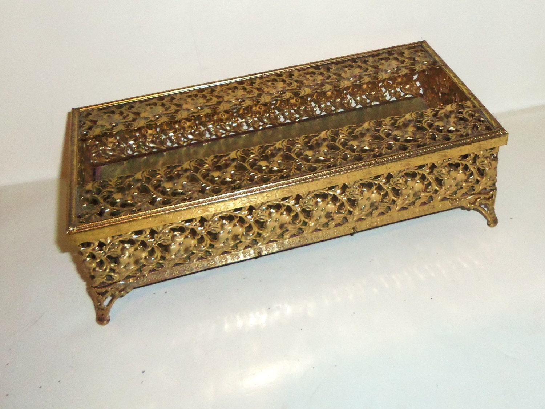 Vintage Tissue Box Cover Metal Ornulu Filigree Gold Gilt