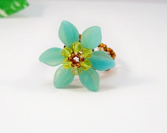 Beaded Flower Ring, Beaded Ring, Bead Weaving Jewelry, Handmade Ring, Aqua Flower Ring