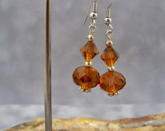 Beaded Earrings, Dangle Earrings, Brown Crystal Earrings, Silver
