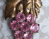 Art Deco Pink Rhinestone Grape Cluster Fur/Dress Clip - Art Deco Brooch - Grape Brooch