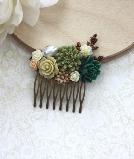 A Shabby Chic Green, Rustic, Green Rose, Copper Leaf, Vintage Style Collage Hair Comb. Maid Of Honor, Bridesmaids Hair comb,  Wedding.