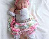 SALE Baby Girl Crochet tutu and Headband set 0 TO 6 MONTHS