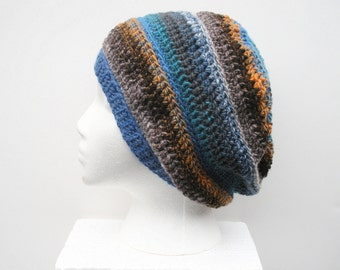 Slouchy Crochet Hat in blue, orange and brown stripes, ready to ship.