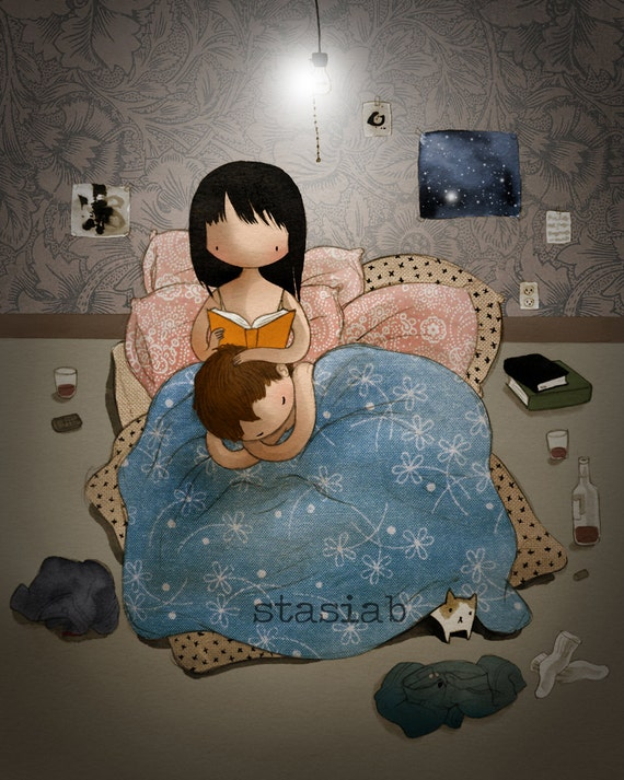 Bedtime Story 8x10 cute romantic couple reading in bed watercolor drawing print