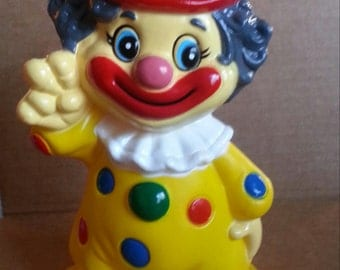 1970-1975 Large Hard Plastic PEACE CLOWN Bank from Carnivals and Circus