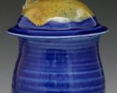 Lidded Jar in Cobalt and Burnt Gold Glazes