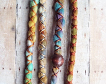 4 Vegan Nylon Tie-Dye Synthetic Dreadlock *Clip-in or Braid-in Extensions Boho Dreads Hair Wraps & Beads Custom