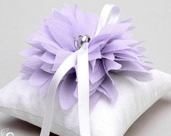 Lavender ring pillow, flower ring bearer pillow, ring pillow wedding, ring holder - Lydia