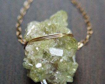 SALE Vessivunite Crystal Necklace - Green Mineral Stone