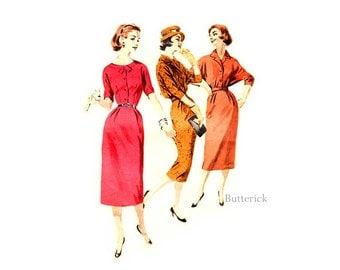 50s Womens Short Jacket & Sheath Dress Pattern Butterick 8277, Bust 34, 1950s Day Dress Vintage Sewing Pattern