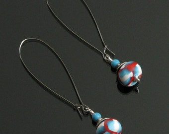 Red, White & Blue Dangle Earrings - Long Drop Earrings - Colorful Clay Jewelry - Unique Jewelry Gift for Women - Patriot Gift - Womens Gift