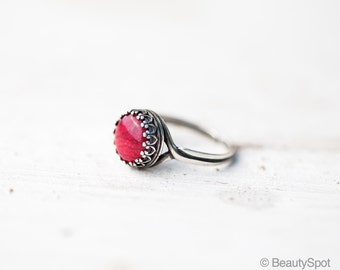 Red rose ring - Red flower ring - Adjustable ring - Red Silver ring - Red petal ring - Flowers petal jewelry (R058)