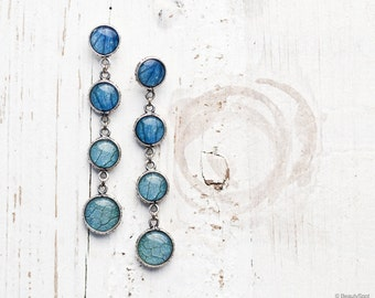 Blue dangle earrings - Blue Hydrangea earrings - Long blue earrings - Ombre Earrings - Blue Flower Earrings - Blue Petals Jewelry (E127)