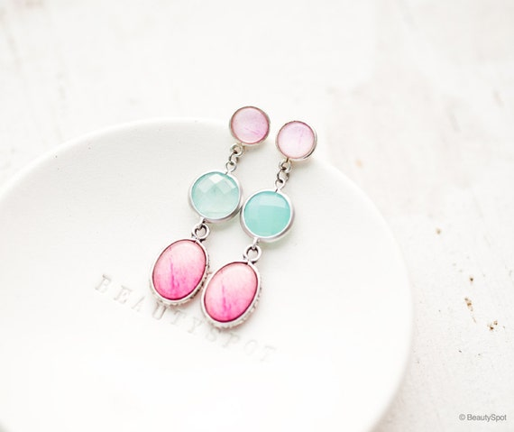 Peony dangle earrings - Mint and Pink - Flower jewelry - Bloom Collection by BeautySpot (E132)