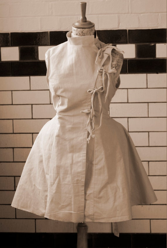 Unbleached Cotton Steampunk style apron lab coat by ...