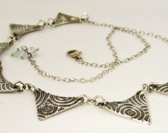 Modern Tribal Fine Silver Link Bib Necklace