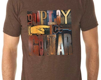 guitar shirt - guitar t shirt - mens tshirt - rock tshirt - music gift - rock shirt - guitar gifts - music lover - GO PLAY GUITAR -crew neck